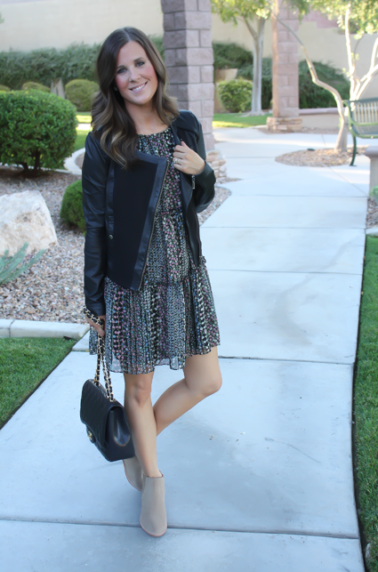 Floral Dress, Leather Jacket, Booties, Quilted Bag, Nordstrom, Anthropologie, Joie, Chanel 5