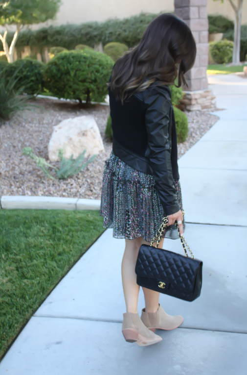 Floral Dress, Leather Jacket, Booties, Quilted Bag, Nordstrom, Anthropologie, Joie, Chanel 9