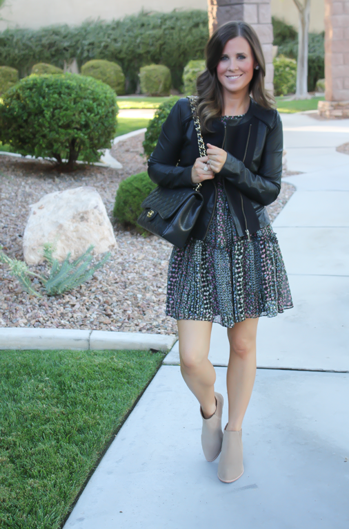 Floral Dress, Leather Jacket, Booties, Quilted Bag, Nordstrom, Anthropologie, Joie, Chanel