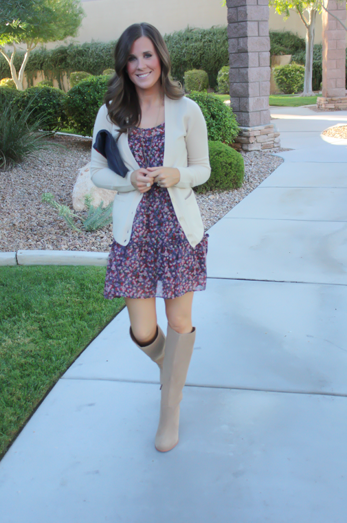 Navy Floral Dress, Beige Cardigan, Tan Suede Tall Boots, Navy Clutch, Nordstrom, J.Crew, Joie, Clare V 13