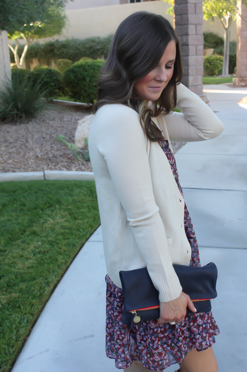 Navy Floral Dress, Beige Cardigan, Tan Suede Tall Boots, Navy Clutch, Nordstrom, J.Crew, Joie, Clare V 19