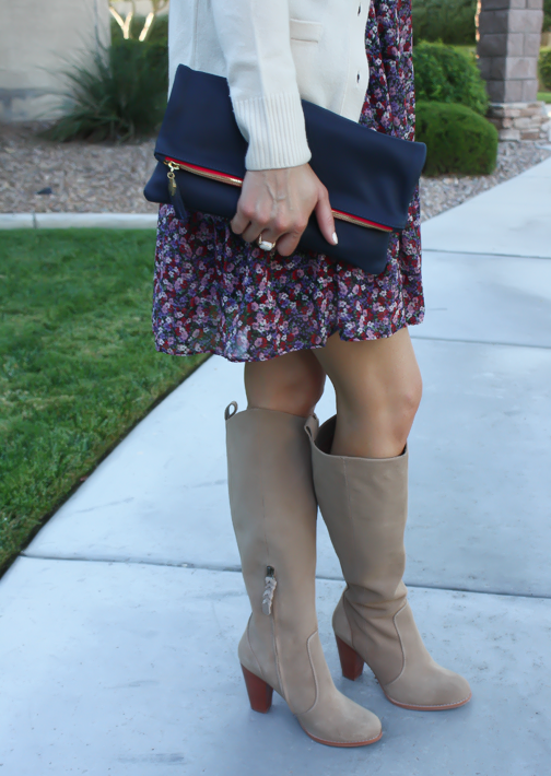 Navy Floral Dress, Beige Cardigan, Tan Suede Tall Boots, Navy Clutch, Nordstrom, J.Crew, Joie, Clare V 20