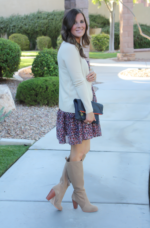 Navy Floral Dress, Beige Cardigan, Tan Suede Tall Boots, Navy Clutch, Nordstrom, J.Crew, Joie, Clare V 4