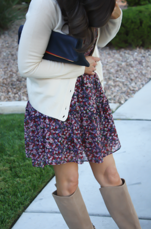 Navy Floral Dress, Beige Cardigan, Tan Suede Tall Boots, Navy Clutch, Nordstrom, J.Crew, Joie, Clare V 7
