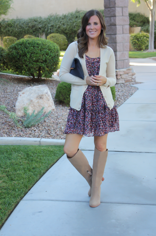 Navy Floral Dress, Beige Cardigan, Tan Suede Tall Boots, Navy Clutch, Nordstrom, J.Crew, Joie, Clare V