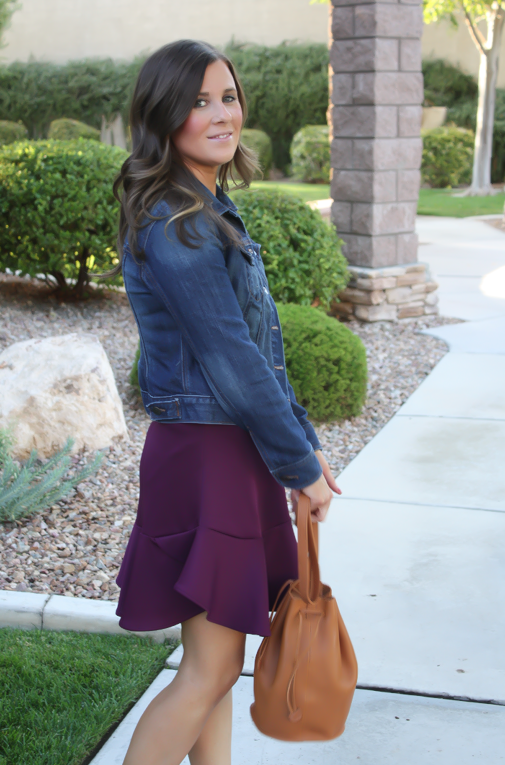 Plum Peplum + Heather Grey