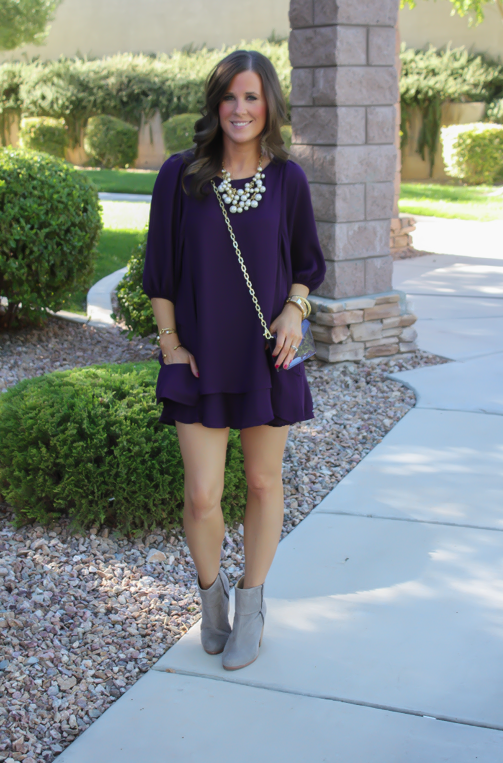 Purple Swing Dress, Grey Booties, Patent Purple Crossbody Bag, Pearl Necklace, Lulus, Rag and Bone, Stella and Dot, Tory Burch