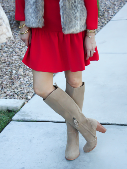 Red Drop Waist Dress, Fur Vest, Tall Boots, J.Crew, Banana Republic, Joie 11