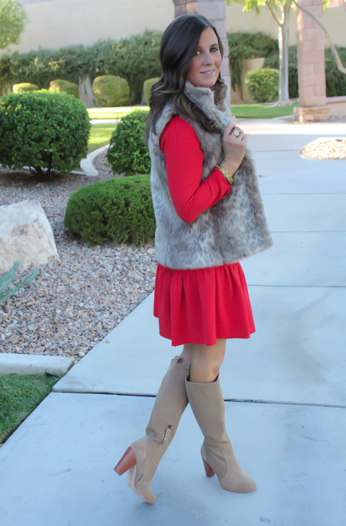 Red Drop Waist Dress, Fur Vest, Tall Boots, J.Crew, Banana Republic, Joie 14