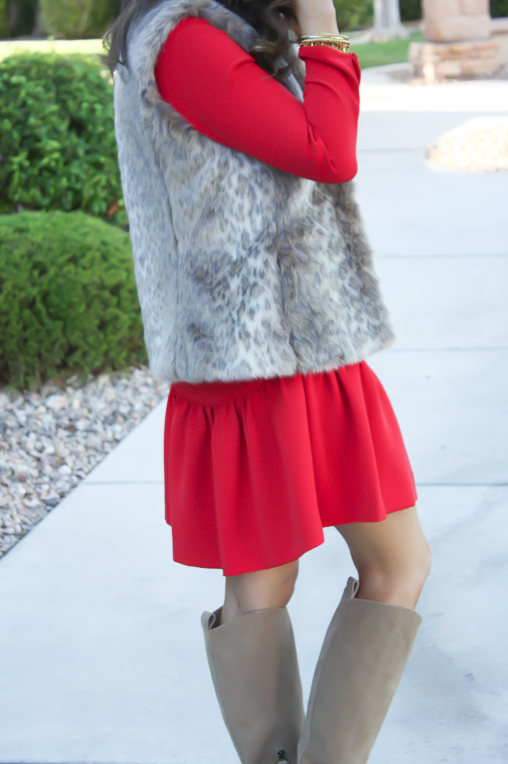 Red Drop Waist Dress, Fur Vest, Tall Boots, J.Crew, Banana Republic, Joie 16