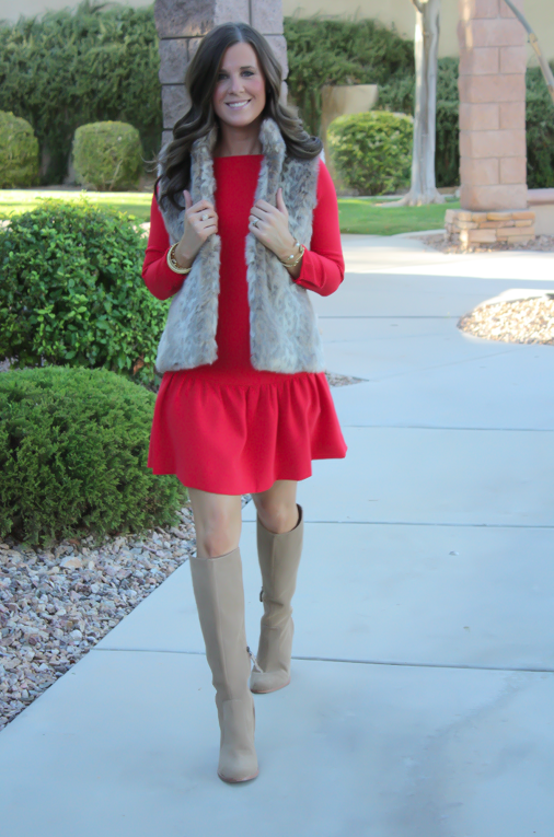 Red Drop Waist Dress, Fur Vest, Tall Boots, J.Crew, Banana Republic, Joie 17