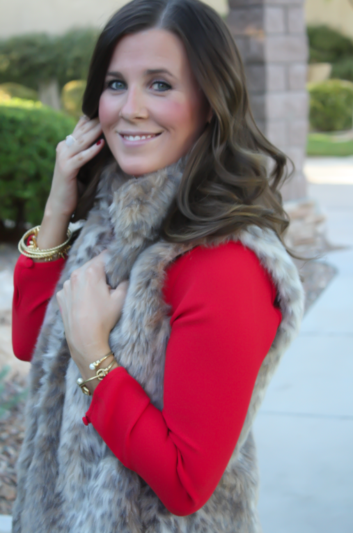 Red Drop Waist Dress, Fur Vest, Tall Boots, J.Crew, Banana Republic, Joie 20