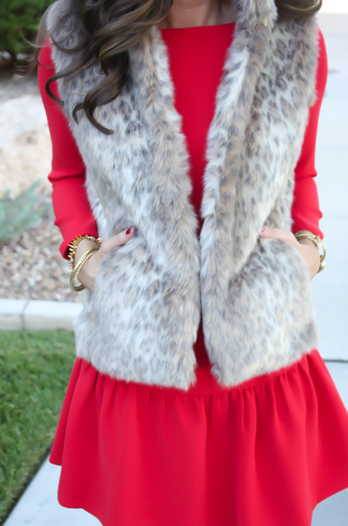 Red Drop Waist Dress, Fur Vest, Tall Boots, J.Crew, Banana Republic, Joie 21