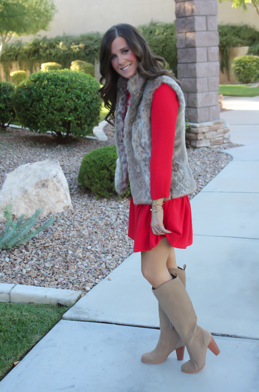 Red Drop Waist Dress, Fur Vest, Tall Boots, J.Crew, Banana Republic, Joie 4