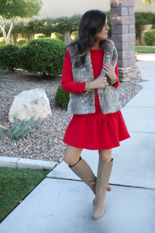 Red Drop Waist Dress, Fur Vest, Tall Boots, J.Crew, Banana Republic, Joie 6