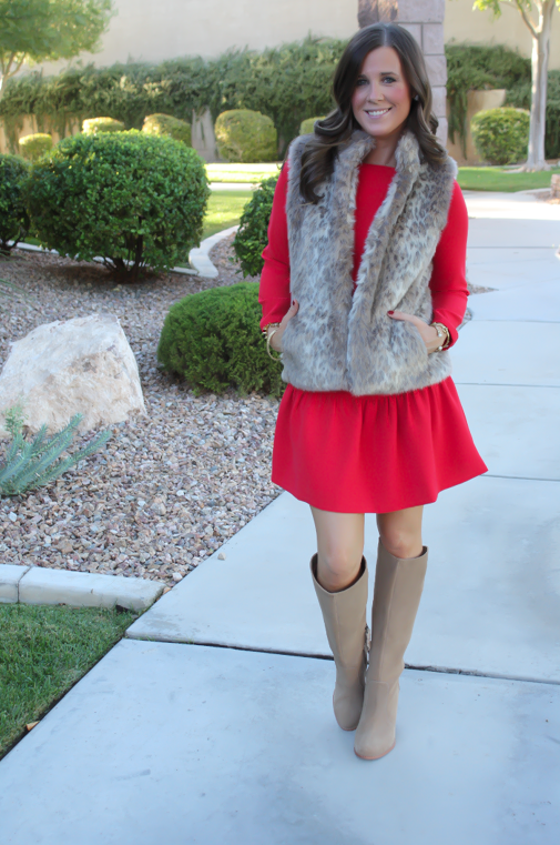 Red Drop Waist Dress, Fur Vest, Tall Boots, J.Crew, Banana Republic, Joie 8