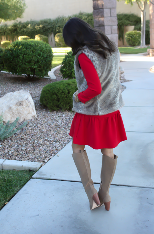 Red Drop Waist Dress, Fur Vest, Tall Boots, J.Crew, Banana Republic, Joie 9