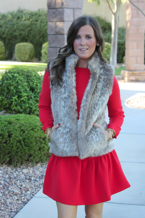 Red Drop Waist Dress, Fur Vest, Tall Boots, J.Crew, Banana Republic, Joie