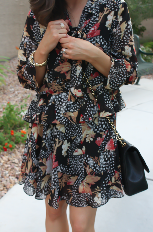 Ruffle Print Dres, Tan Booties, Quilted Bag, Topshop, Joie, Chanel 23