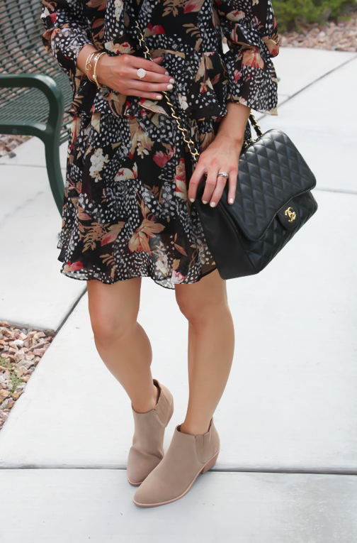 Ruffle Print Dres, Tan Booties, Quilted Bag, Topshop, Joie, Chanel 4