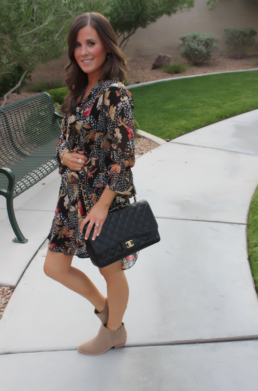 Ruffle Print Dres, Tan Booties, Quilted Bag, Topshop, Joie, Chanel 5
