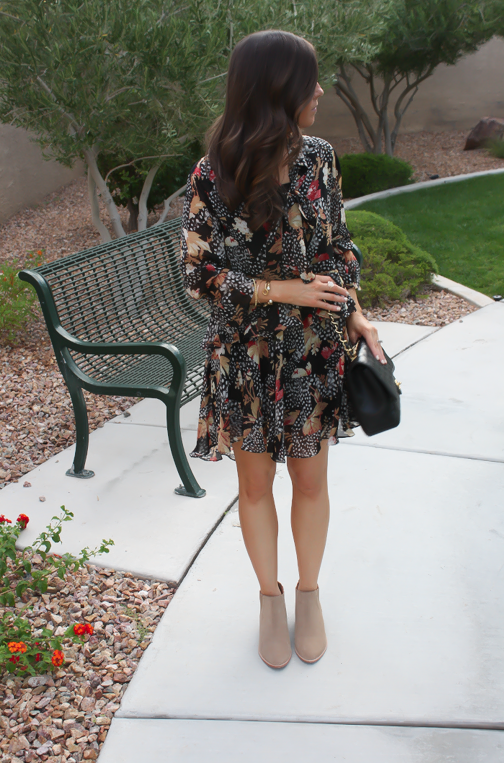 Ruffle Print Dres, Tan Booties, Quilted Bag, Topshop, Joie, Chanel 6