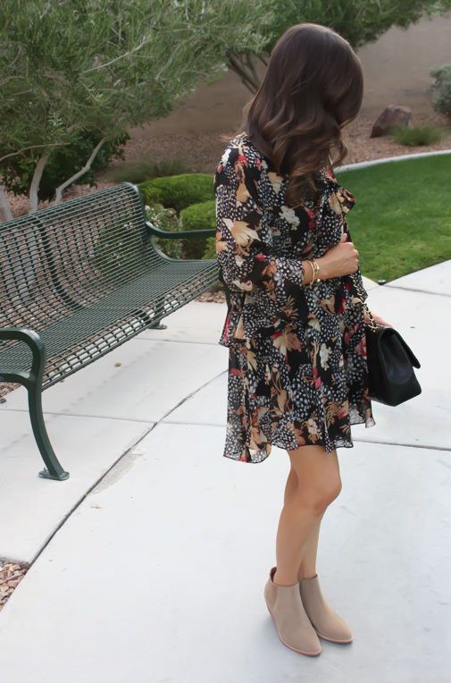 Ruffle Print Dres, Tan Booties, Quilted Bag, Topshop, Joie, Chanel 9