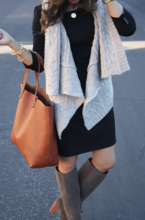 Black Long Sleeve Dress, Grey Cable Sweater Vest, Grey Suede Boots, Cognac Tote, Gold Watch, Old Navy, Loft, Joie, Michael Kors 15