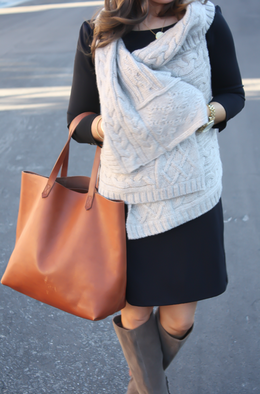 Black Long Sleeve Dress, Grey Cable Sweater Vest, Grey Suede Boots, Cognac Tote, Gold Watch, Old Navy, Loft, Joie, Michael Kors 16