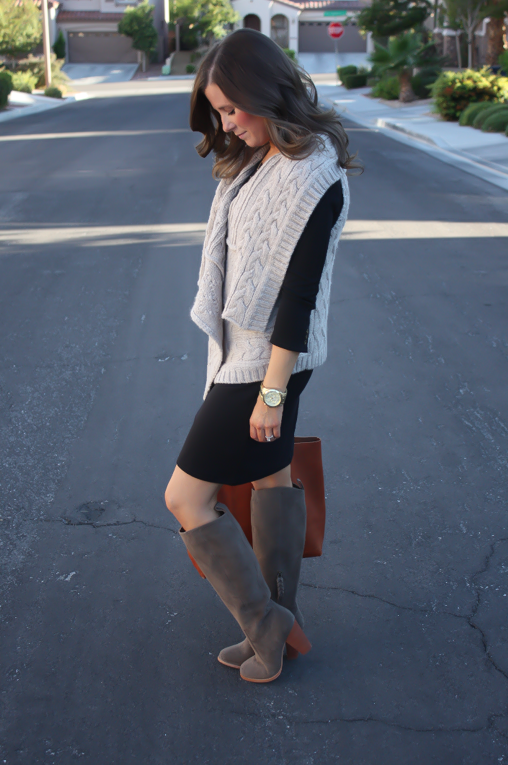 Black Long Sleeve Dress, Grey Cable Sweater Vest, Grey Suede Boots, Cognac Tote, Gold Watch, Old Navy, Loft, Joie, Michael Kors 6