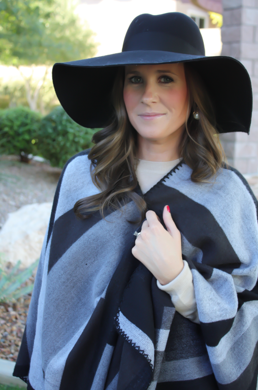 Black and Grey Cap, Black Box Pleat Skirt, Black Quilted Chain Strap Bag, Black Merino Crewneck Sweater, Black Wool Floppy Hat, Tan Suede Tall Boots,  Topshop, J.Crew, Gap, Joie, Chanel 17