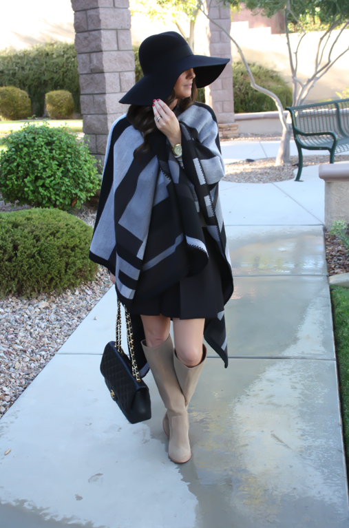 Black and Grey Cap, Black Box Pleat Skirt, Black Quilted Chain Strap Bag, Black Merino Crewneck Sweater, Black Wool Floppy Hat, Tan Suede Tall Boots,  Topshop, J.Crew, Gap, Joie, Chanel