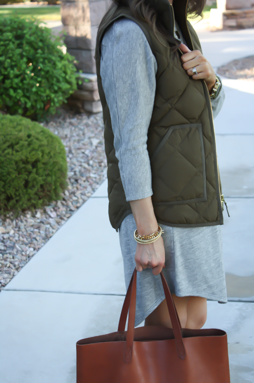 Grey Sweatshirt Dress, Green Quilted Vest, Tan Suede Boots, Cognac Tote, Old Navy, J.Crew Factory, Joie, Madewell, Stella and Dot, Michael Kors 12