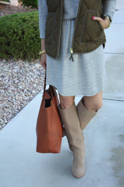 Grey Sweatshirt Dress, Green Quilted Vest, Tan Suede Boots, Cognac Tote, Old Navy, J.Crew Factory, Joie, Madewell, Stella and Dot, Michael Kors 14