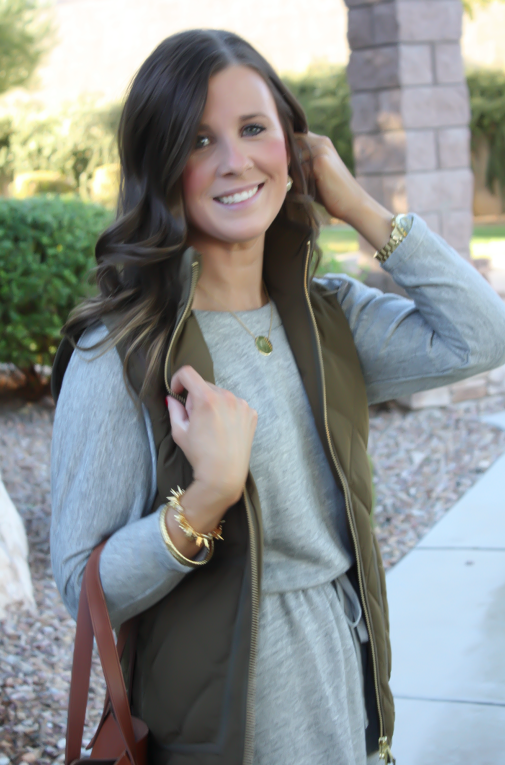 Grey Sweatshirt Dress, Green Quilted Vest, Tan Suede Boots, Cognac Tote, Old Navy, J.Crew Factory, Joie, Madewell, Stella and Dot, Michael Kors 17
