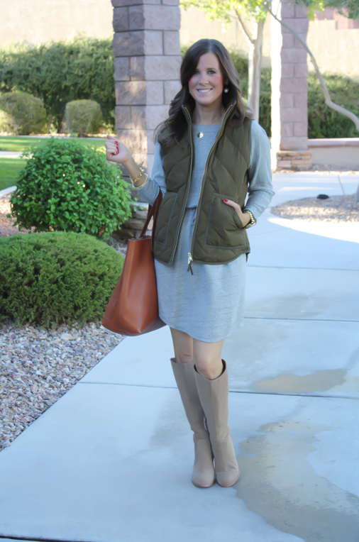 Grey Sweatshirt Dress, Green Quilted Vest, Tan Suede Boots, Cognac Tote, Old Navy, J.Crew Factory, Joie, Madewell, Stella and Dot, Michael Kors 2
