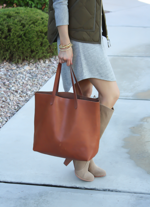 Grey Sweatshirt Dress, Green Quilted Vest, Tan Suede Boots, Cognac Tote, Old Navy, J.Crew Factory, Joie, Madewell, Stella and Dot, Michael Kors 4