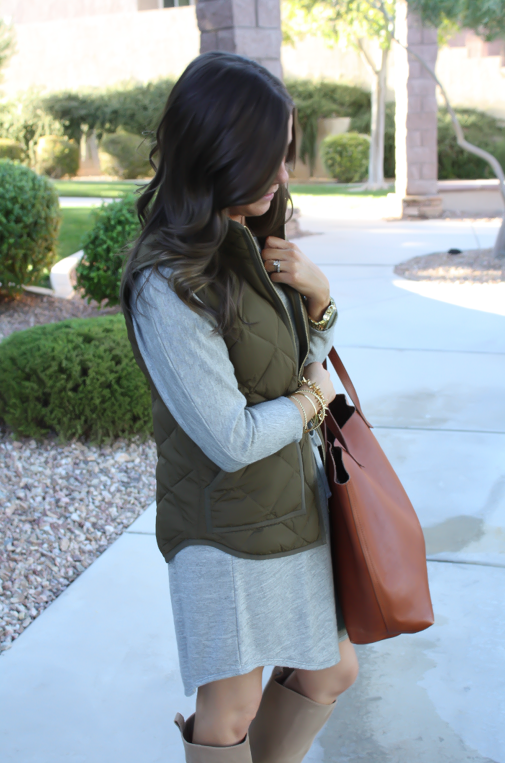 Grey Sweatshirt Dress, Green Quilted Vest, Tan Suede Boots, Cognac Tote, Old Navy, J.Crew Factory, Joie, Madewell, Stella and Dot, Michael Kors 7