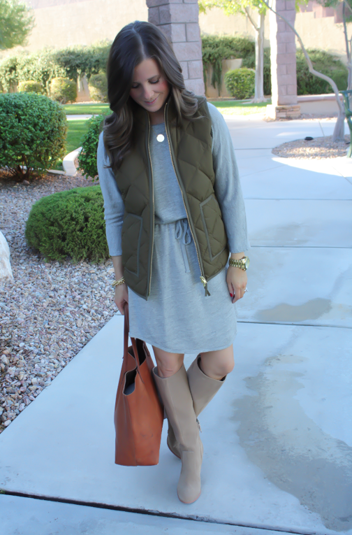 Grey Sweatshirt Dress, Green Quilted Vest, Tan Suede Boots, Cognac Tote, Old Navy, J.Crew Factory, Joie, Madewell, Stella and Dot, Michael Kors 8
