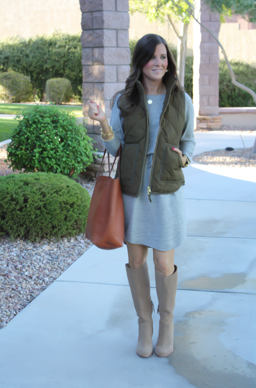 Grey Sweatshirt Dress, Green Quilted Vest, Tan Suede Boots, Cognac Tote, Old Navy, J.Crew Factory, Joie, Madewell, Stella and Dot, Michael Kors