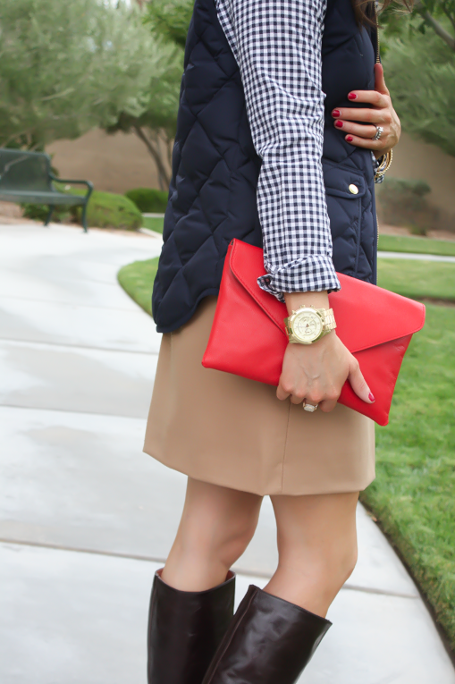 Navy Quilted Vest, Navy Gingham Shirt, Camel Mini Skirt, Leopard Belt, Brown Riding Boots, J.Crew Factory, Gap, J.Crew, Frye 10