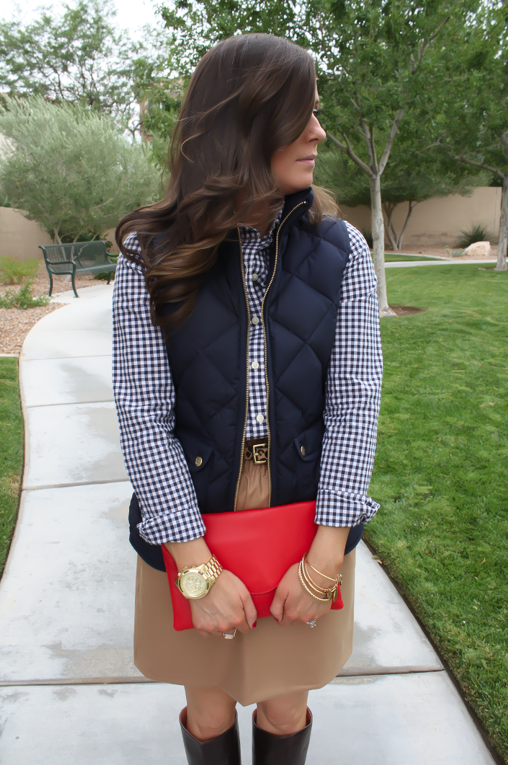 Navy Quilted Vest, Navy Gingham Shirt, Camel Mini Skirt, Leopard Belt, Brown Riding Boots, J.Crew Factory, Gap, J.Crew, Frye 13