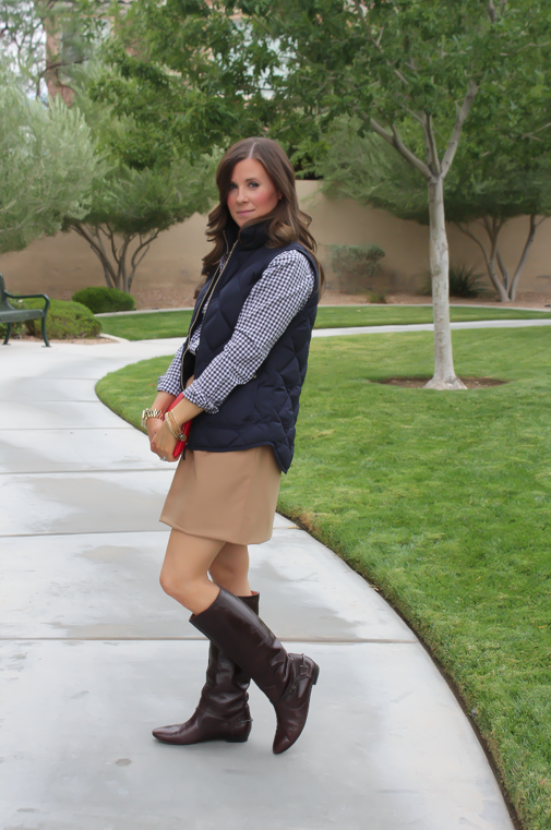 Navy Quilted Vest, Navy Gingham Shirt, Camel Mini Skirt, Leopard Belt, Brown Riding Boots, J.Crew Factory, Gap, J.Crew, Frye 4