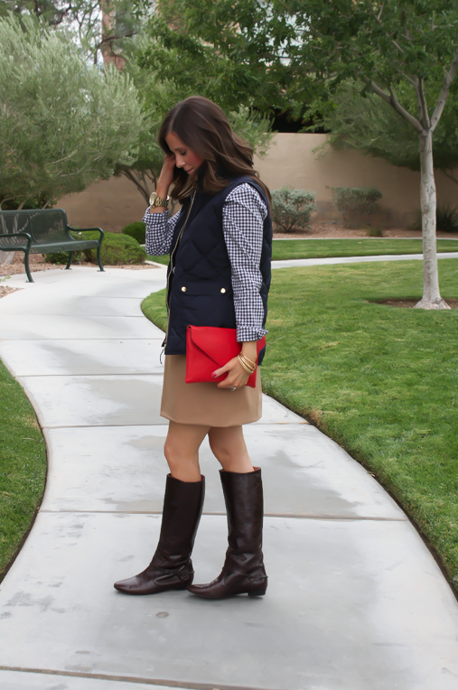 Navy Quilted Vest, Navy Gingham Shirt, Camel Mini Skirt, Leopard Belt, Brown Riding Boots, J.Crew Factory, Gap, J.Crew, Frye 5