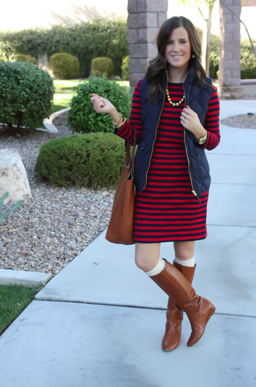 Red and Navy Striped Dress, Navy Quilted Dress, Cognac Boots, Cognac Tote, Gold Bead Necklace, Gap, J.Crew, Loeffler Randall, Target, Madewell 2