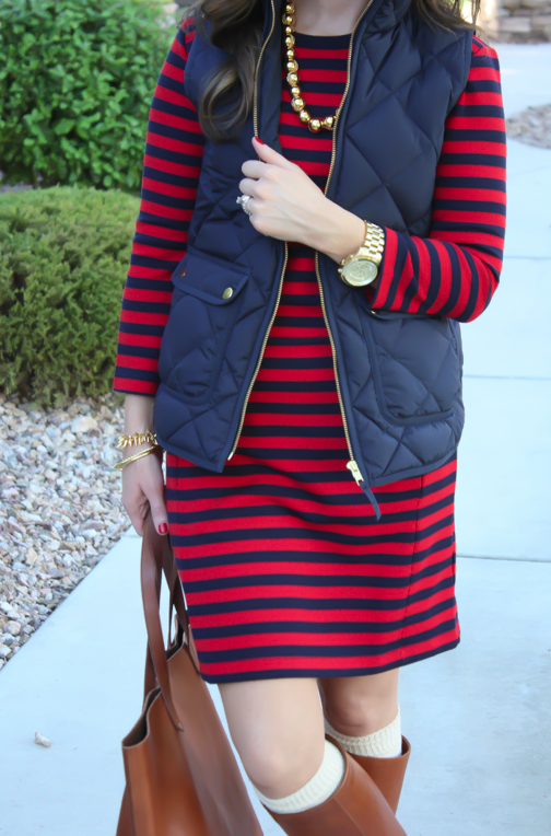 Red and Navy Striped Dress, Navy Quilted Dress, Cognac Boots, Cognac Tote, Gold Bead Necklace, Gap, J.Crew, Loeffler Randall, Target, Madewell 3