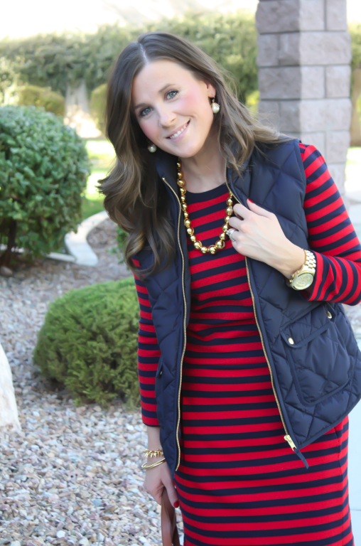 Red and Navy Striped Dress, Navy Quilted Dress, Cognac Boots, Cognac Tote, Gold Bead Necklace, Gap, J.Crew, Loeffler Randall, Target, Madewell 4