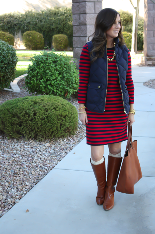 Red and Navy Striped Dress, Navy Quilted Dress, Cognac Boots, Cognac Tote, Gold Bead Necklace, Gap, J.Crew, Loeffler Randall, Target, Madewell 5