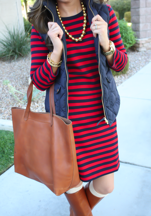 Red and Navy Striped Dress, Navy Quilted Dress, Cognac Boots, Cognac Tote, Gold Bead Necklace, Gap, J.Crew, Loeffler Randall, Target, Madewell 9