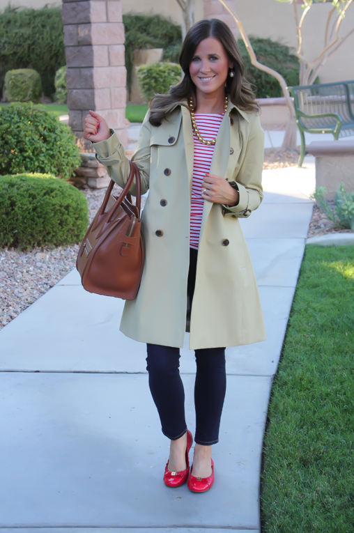 Trench-Coat-Red-Striped-Tee-Dark-Wash-Skinny-Jeans-Patent-Red-Flats-Brown-Tote-J.Crew-Tory-Burch-Celine-Luggage